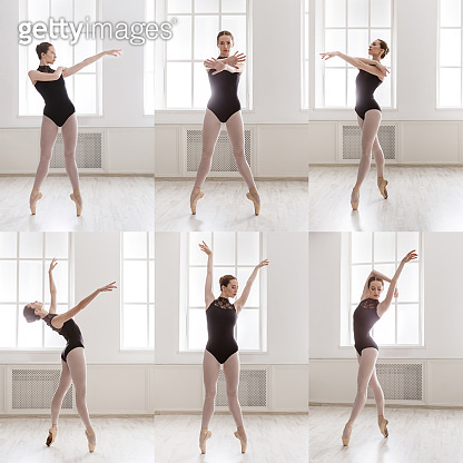 Collage of young ballerina standing in ballet poses